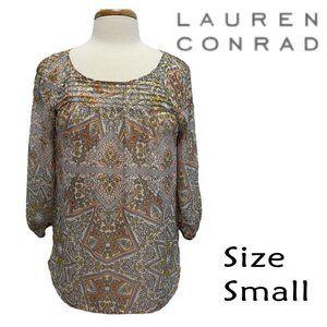 Lauren Conrad Semi-Sheer Floral Blouse Size Small